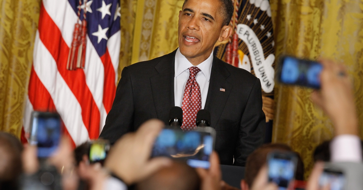 U.S. President Barack Obama hosts a reception in honor of national Gay, Lesbian, Bisexual and Transgender Pride Month in the East Room of the White House June 15, 2012 in Washington, DC.</p>