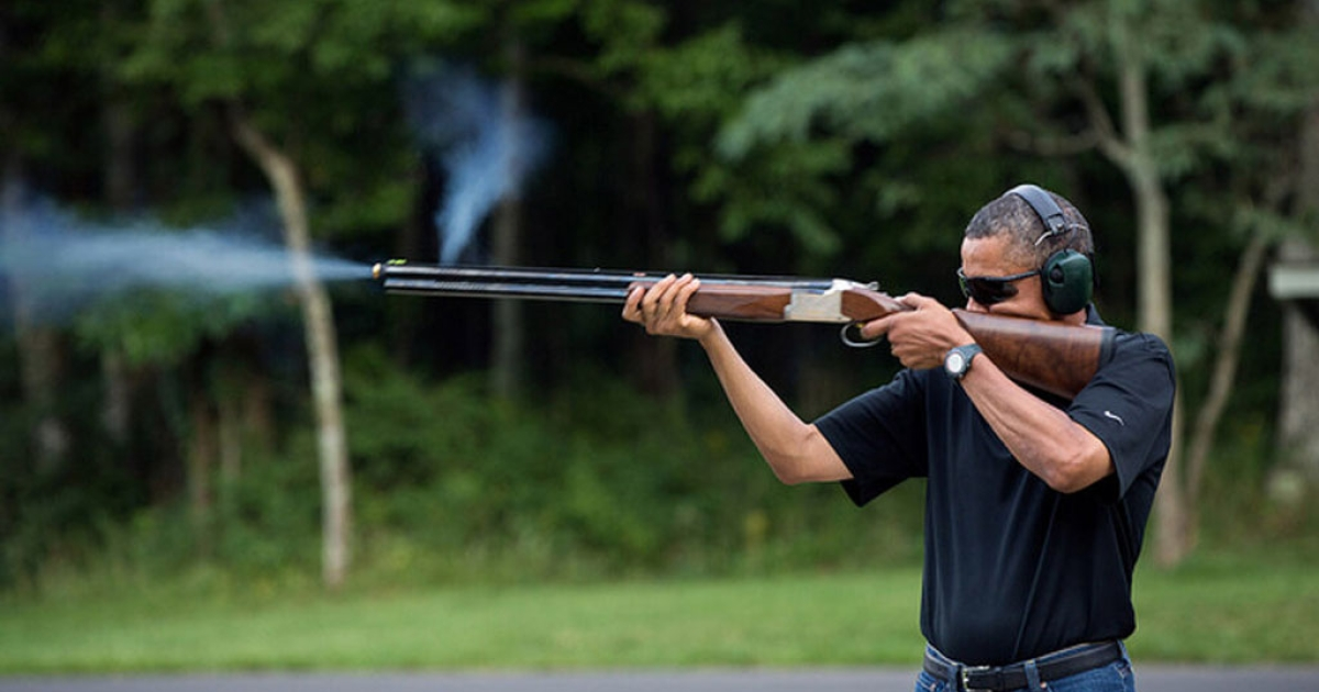 President Barack Obama fires a gun during target practice at Camp David on Aug. 4, 2012 in this White House photo. The administration released the photo on Feb. 2, 2012 in response to critics who doubted if POTUS had ever held a weapon.</p>