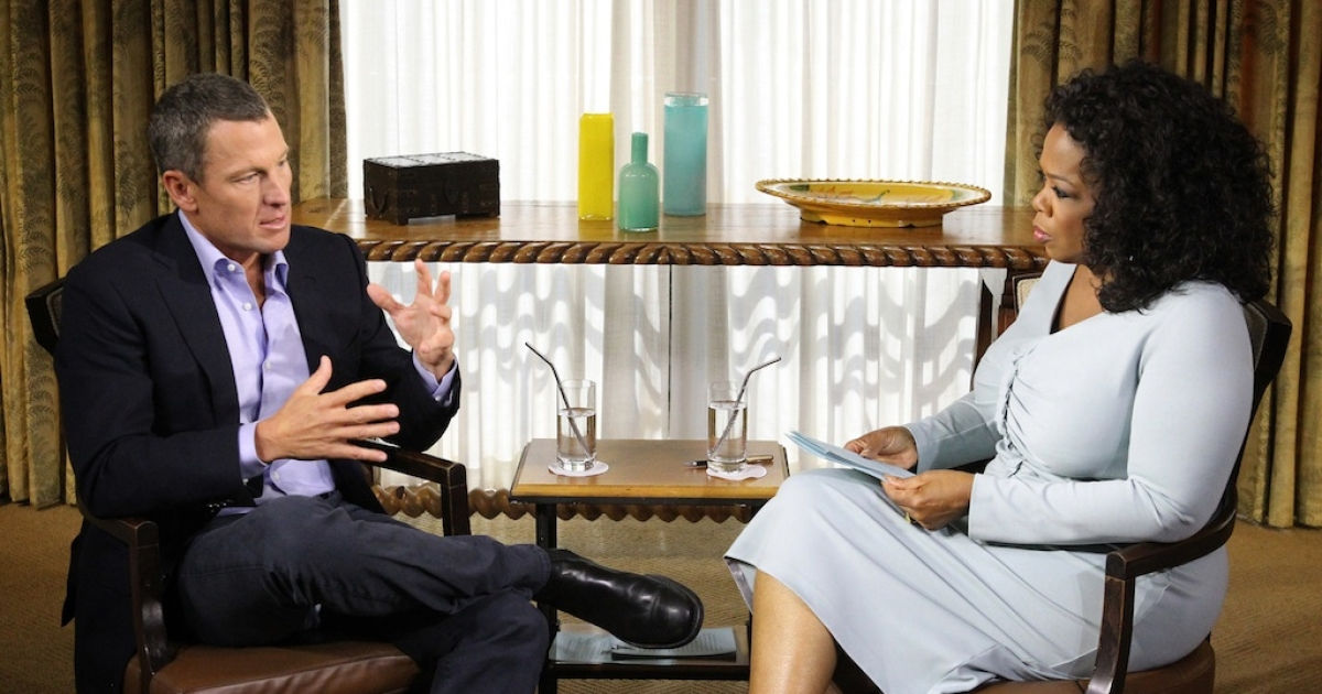 In this handout photo provided by the Oprah Winfrey Network, Oprah Winfrey (R) speaks with Lance Armstrong during an interview regarding the controversy surrounding his cycling career January 14, 2013 in Austin, Texas.</p>
