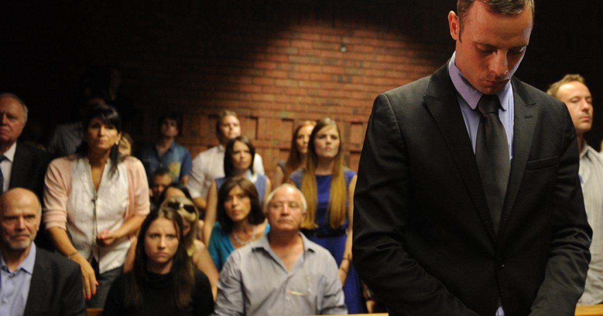 South African Olympic sprinter Oscar Pistorius appears on Feb. 21, 2013, at the Magistrate Court in Pretoria, South Africa. After four days of combative hearings, a South African magistrate on Friday granted bail for Oscar Pistorius, the double amputee accused of murdering his girlfriend Reeva Steenkamp.</p>