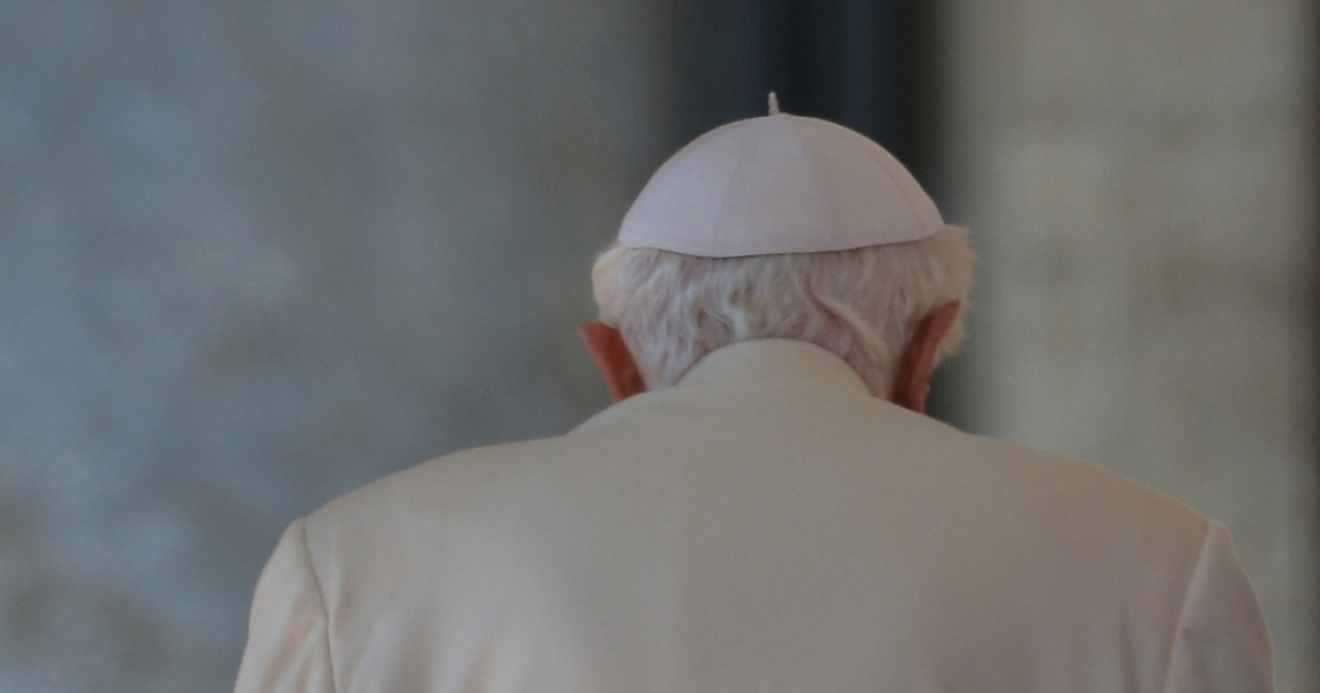 Pope Benedict XVI leaves the altar at the end of his last weekly audience on Feb. 27, 2013 at St Peter's square in Vatican City.</p>