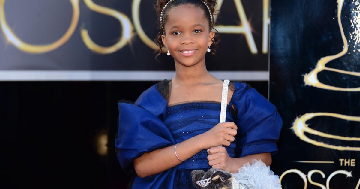 Best Actress nominee Quvenzhané Wallis, 9, arrives on the red carpet for the 85th Annual Academy Awards on Feb. 24, 2013, in Hollywood.</p>
