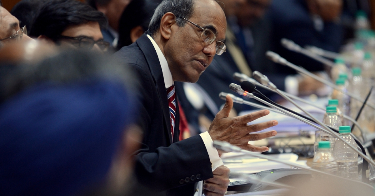 Reserve Bank of India (RBI) Governor Duvvuri Subbarao speaks during a press conference in Mumbai, India, on Jan. 27, 2013. RBI, India's central bank, is expected to introduce further monetary policy measures aimed at kick-starting the slowing economy.</p>