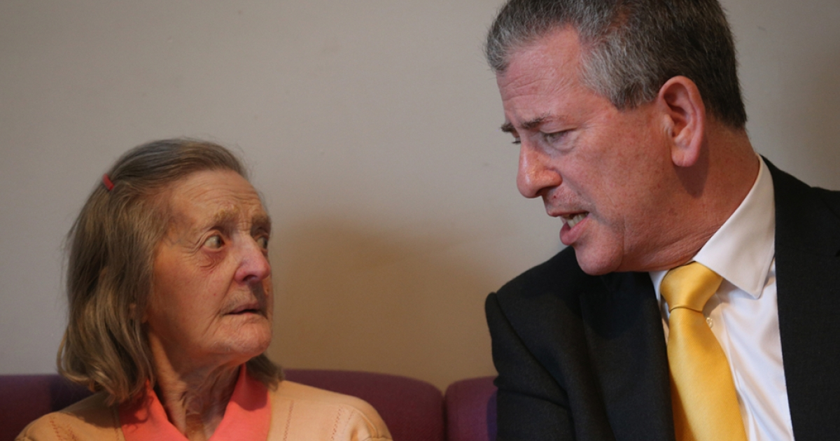 Liberal Democrat candidate Mike Thornton speaks with Isabel Howell, 81, as he meets pensioners in a community center as he campaigns in the final day for forthcoming by-election on Febr. 27, 2013 in Eastleigh, Hampshire.</p>