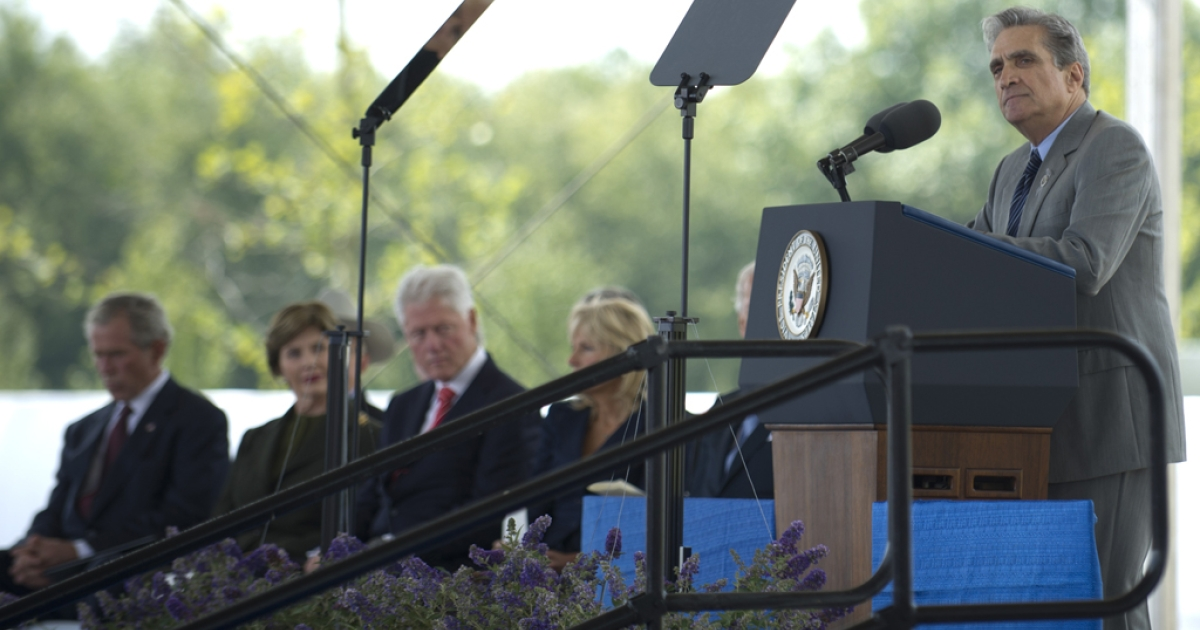 Poet Robert Pinsky reads during ceremonies at the Flight 93 Memorial on Sept. 10, 2011, in Shanksville, Pa.</p>
