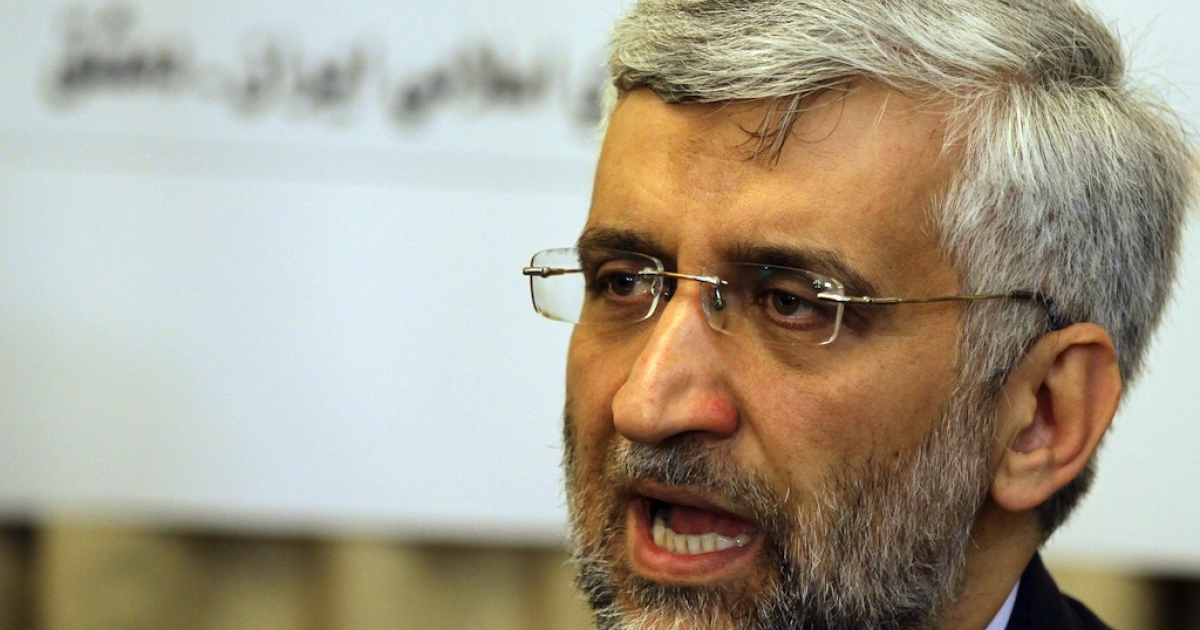 Saeed Jalili, who heads the Iranian Supreme National Security Council, speaks during a press conference at the Iranian Embassy in Damascus on Feb. 4, 2013.</p>