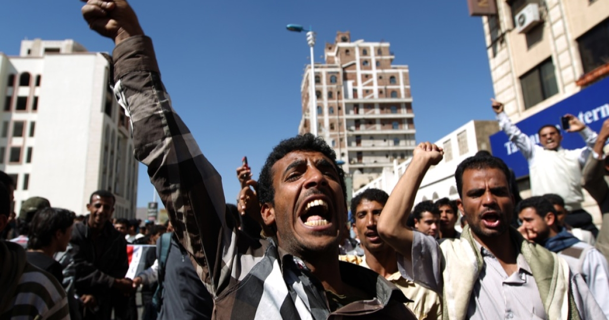 A pro-democracy protester shouts slogans during a demonstration demanding the scrapping of immunity given ex-president Ali Abdullah Saleh under a UN-backed deal, as a Security Council team paid a rare visit to Yemen's capital Sanaa on Jan. 27, 2013.</p>