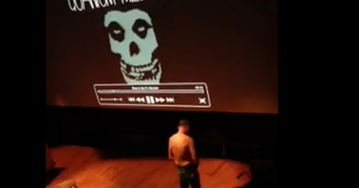 Professor Emlyn Hughes strips in a still shot from a video posted on the Columbia website, BWOG.com</p>