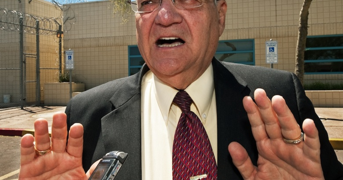 (FILES) Maricopa County Sheriff Joe Arpaio speaks with a reporter outside city jail in this May 3, 2010, file photo.</p>