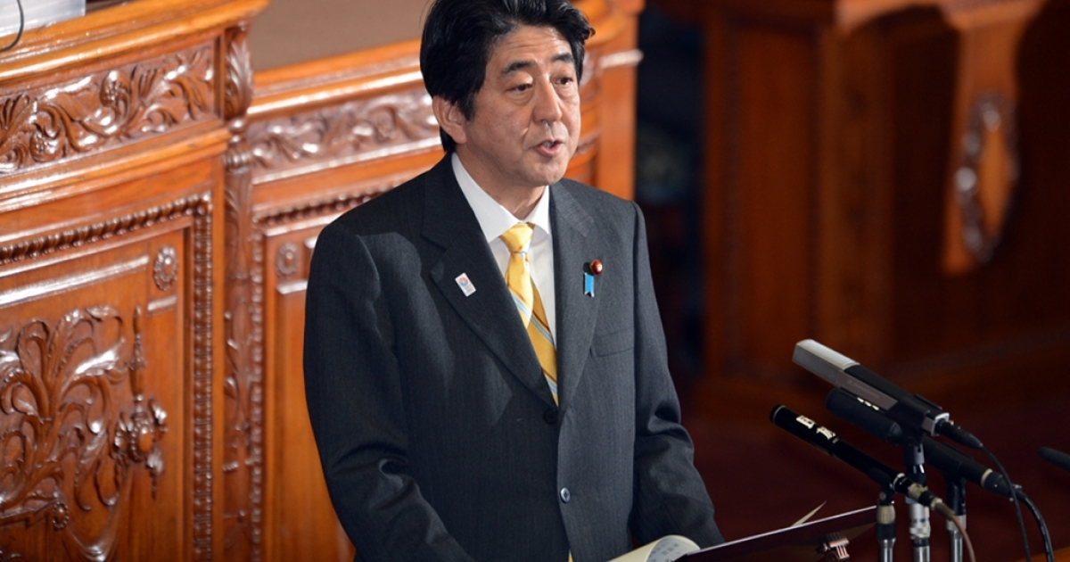 Japanese Prime Minister Shinzo Abe speaks at the Upper House's plenary session at the National Diet in Tokyo on Feb. 1, 2013.</p>
