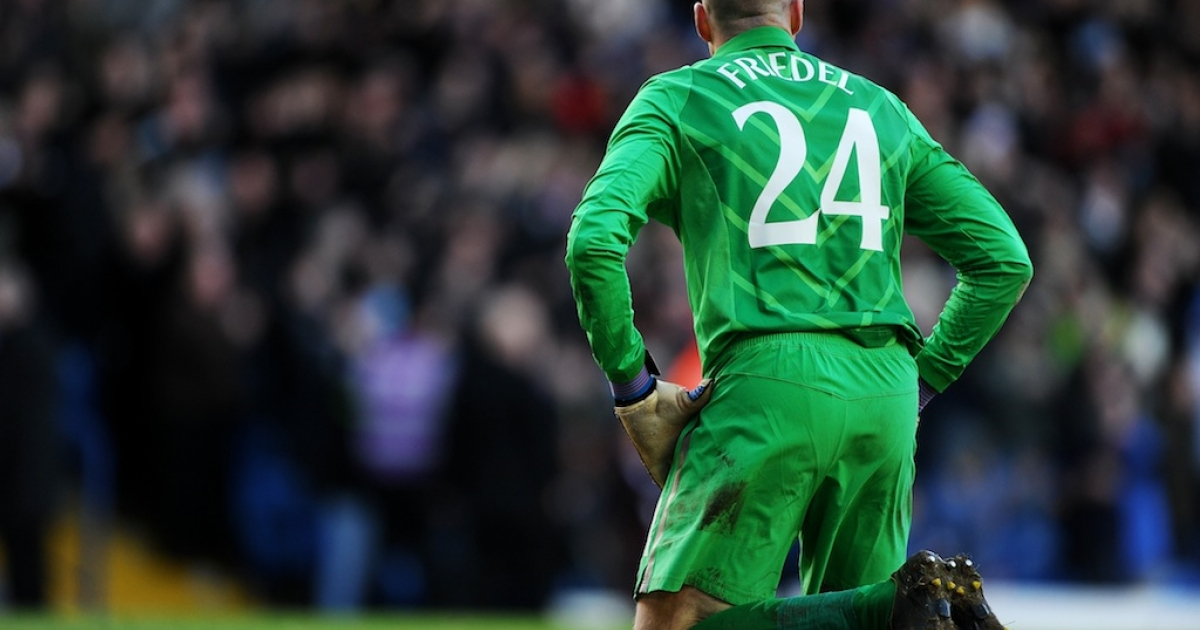 Dejected goalkeeper Brad Friedel of Spurs looks on after conceding a second goal during the FA Cup on Jan. 27, 2013 in Leeds, England.</p>