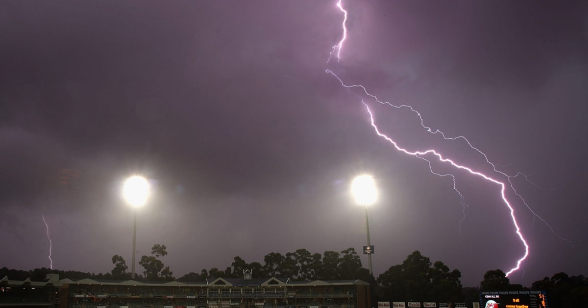 Lightning breaks over the ground as play is abandoned for the day due to rain and bad light during day three of the First Test between South Africa and Australia played at the Wanderers on February 28, 2009 in Johannesburg, South Africa.</p>