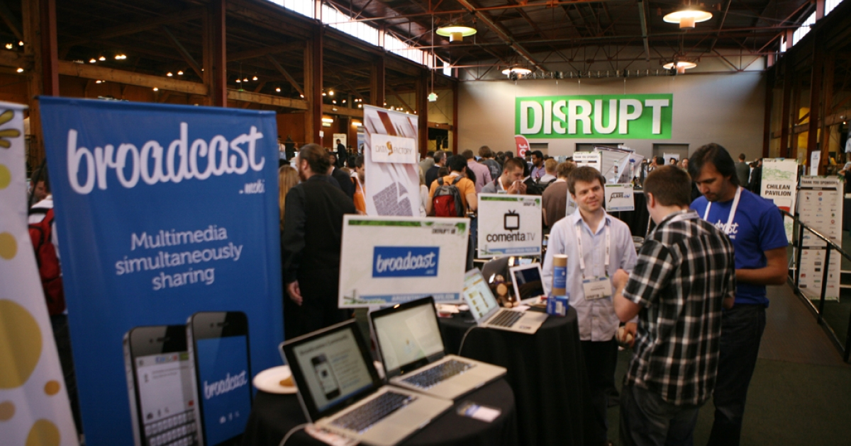 Startup companies display their products during the TechCrunch Disrupt SF 2012 conference on Sept. 11, 2012, in San Francisco, Calif.</p>