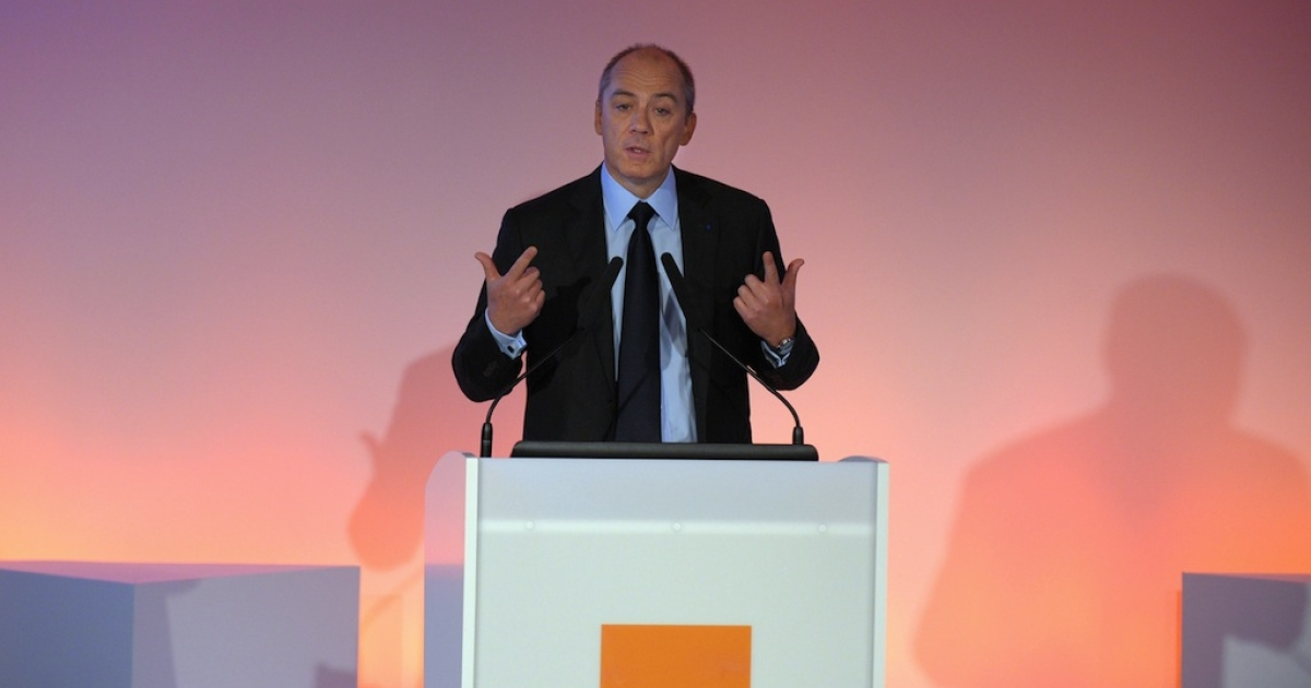 France Telecom-Orange CEO Stephane Richard presents the groups 2012 results in Paris on Feb. 20, 2013.</p>