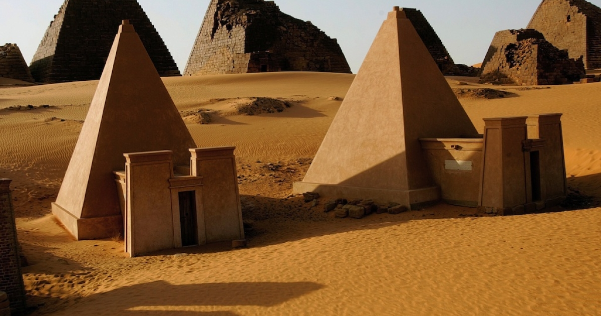A picture taken on February 26, 2010 shows pyramids in the Meroe desert, north of Khartoum.</p>