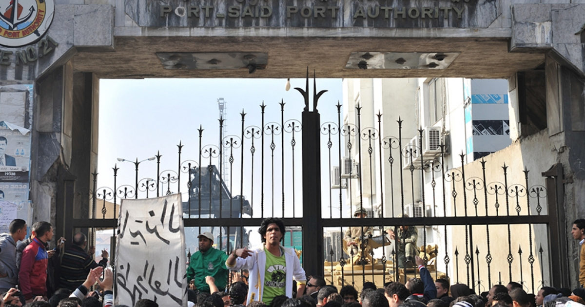Thousands of Egyptians rally on Feb. 17, 2013, closing down government offices and factories in the Suez Canal city of Port Said, as they demand justice for dozens of people killed in clashes with police in late January after a court sentenced 21 soccer fans from the city to death over a deadly football riot last year.</p>