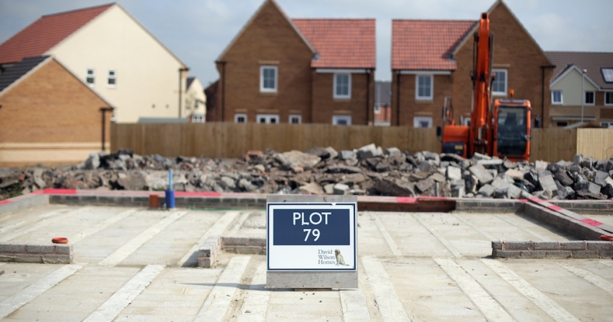 A sign marks the plot for a new home being constructed on a residential housing estate on the edge of Bridgwater on Sept. 3, 2012 in Somerset, England.</p>