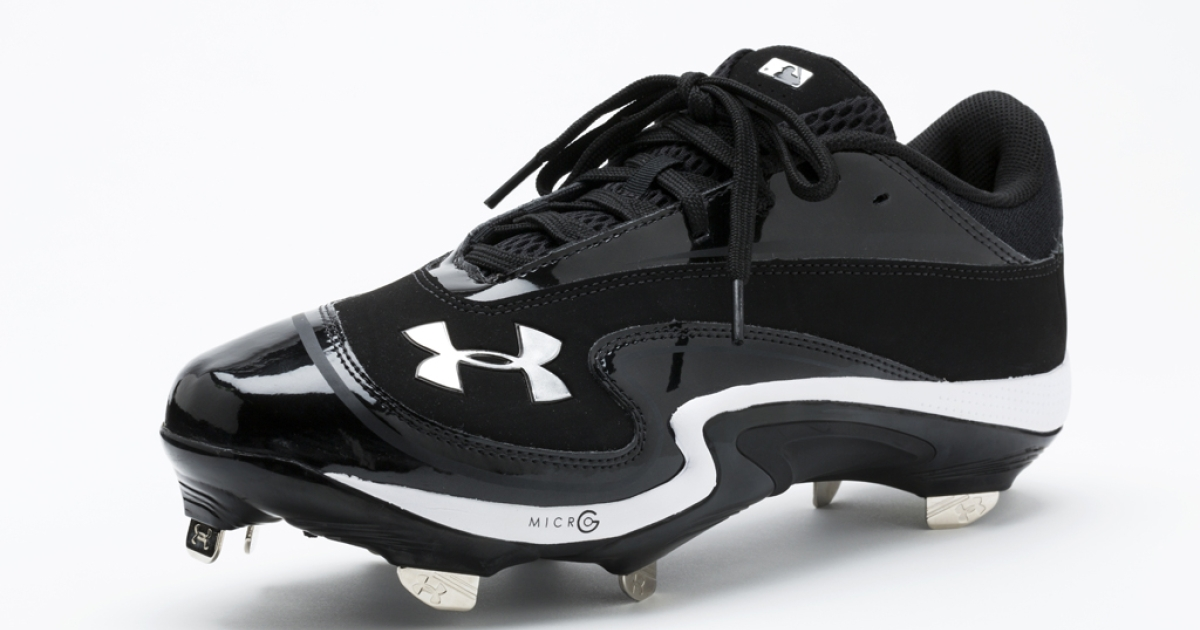 A detail shot of Under Armour cleats, the official footwear supplier for Major League Baseball, photographed on Dec. 19, 2012, in New York City. A new 8,000 square foot store in Baltimore is a key part of Under Armour's new marketing push for 2013.</p>