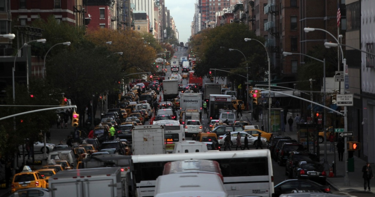 Vehicles sit in traffic on 10th Avenue on Nov. 2, 2012 in New York City.</p>