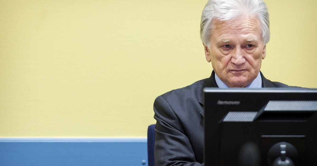 Momcilo Perisic, the former chief of staff of the Yugoslav army, sits during his appeal judgement in the court room of the Yugoslav War Crimes Tribunal (ICTY) in The Hague on February 28, 2013.</p>