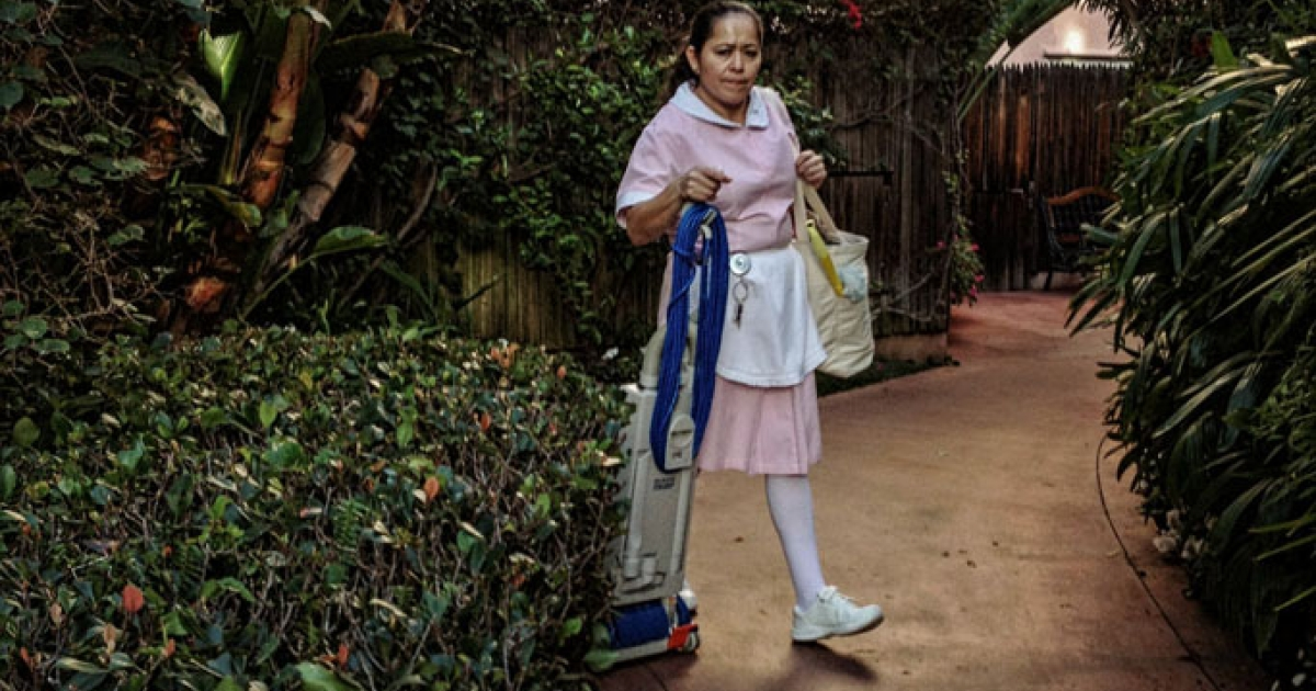 A cleaning woman at the Beverly Hills Hotel, where the rich and famous come to stay.</p>