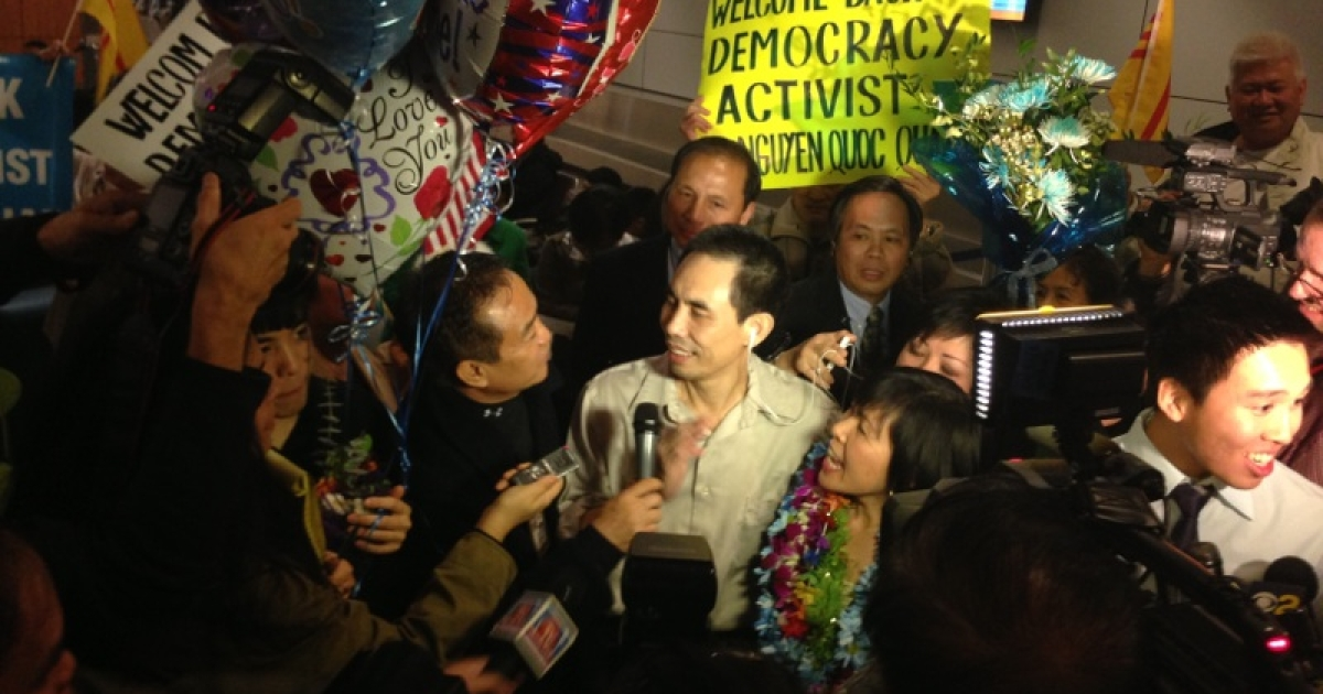 Vietnamese-American Nguyen Quoc Quan returns home to California after nine months of detention in Saigon on January 30th.</p>