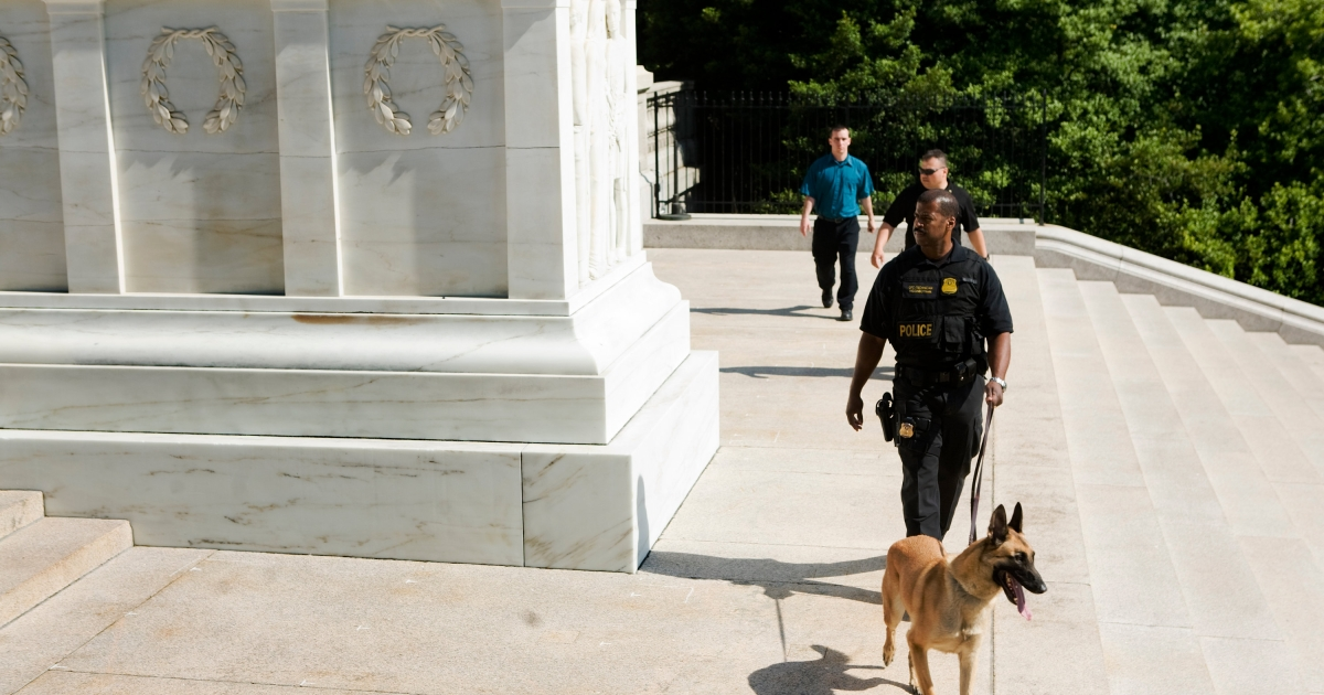 A Secret Service dog fell to its death Saturday evening in New Orleans while it did a security sweep of a parking lot near a hotel where the Vice President spoke.</p>