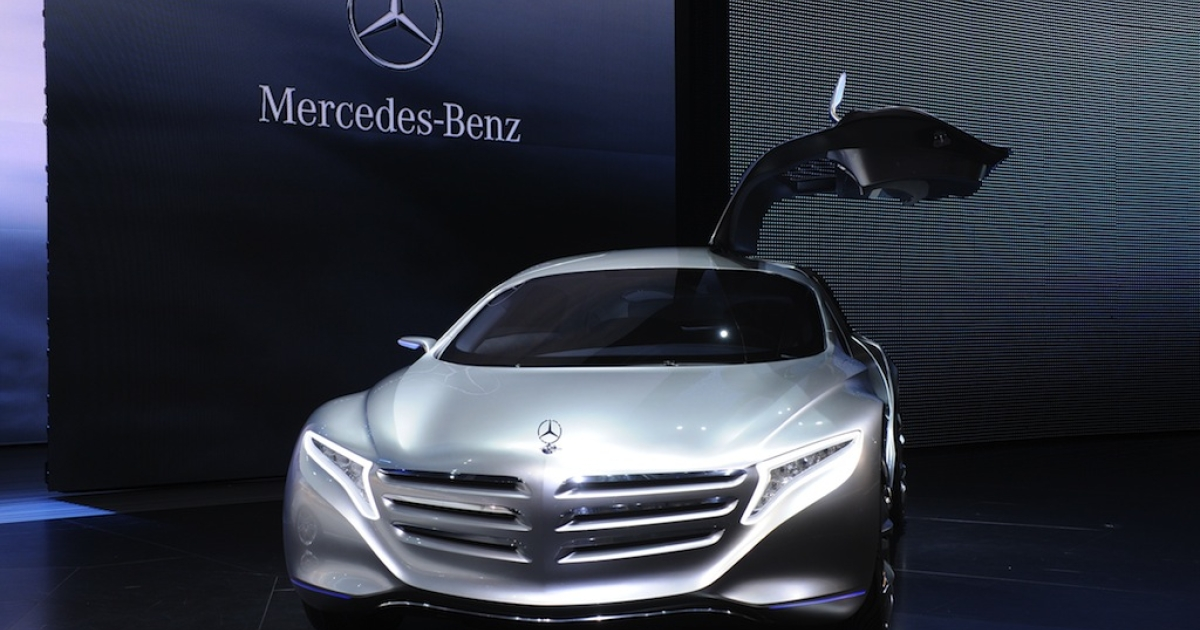 A Mercedes-Benz F 125 Concept fuel cell hybrid car is on display at the international motor show in Frankfurt, Germany, on Sept. 14, 2011. Daimler AG, the parent company of Mercedes-Benz, announced a partnership with Ford and Renault-Nissan to speed development of fuel cell cars.</p>