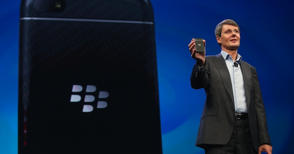 BlackBerry Chief Executive Officer Thorsten Heins displays one of the new Blackberry smartphones at the BlackBerry 10 launch event by Research in Motion at Pier 36 in Manhattan on January 30, 2013 in New York City. The new smartphone and mobile operating system is being launched simultaneously in six cities.</p>