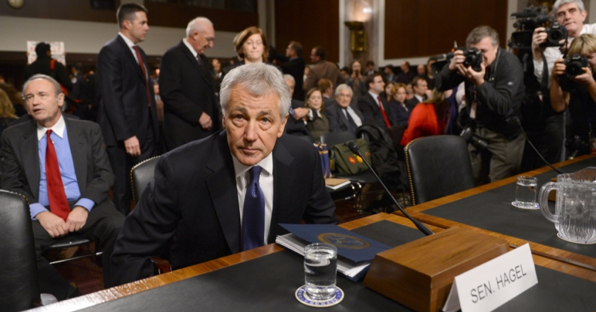 Former US Senator Chuck Hagel, US President Barack Obama's nominee for secretary of defense, sits at the start his confirmation hearing before the Senate Armed Services Committee on Capitol Hill in Washington, DC, on January 31, 2013.</p>