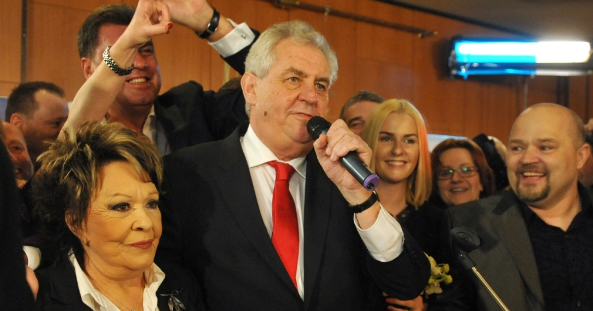 Czech President Milos Zeman celebrating after his election.</p>