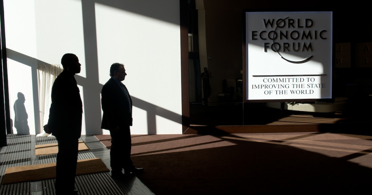 A logo of the World Economic Forum Annual Meeting 2013 is pictured on January 26, 2013 at the Swiss resort of Davos.</p>