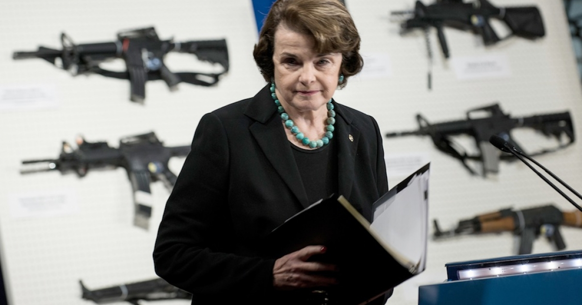 Sen. Dianne Feinstein (D-Calif.) speaks at a press conference on Capitol Hill on January 24, 2013 in Washington, DC. House and Senate Democrats where joined by law enforcement officials to introduce the