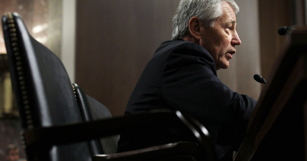 Former U.S. Senator Chuck Hagel testifies before the Senate Armed Services Committee during his confirmation hearing to become the next secretary of defense on Capitol Hill on Jan. 31, 2013 in Washington, DC.</p>