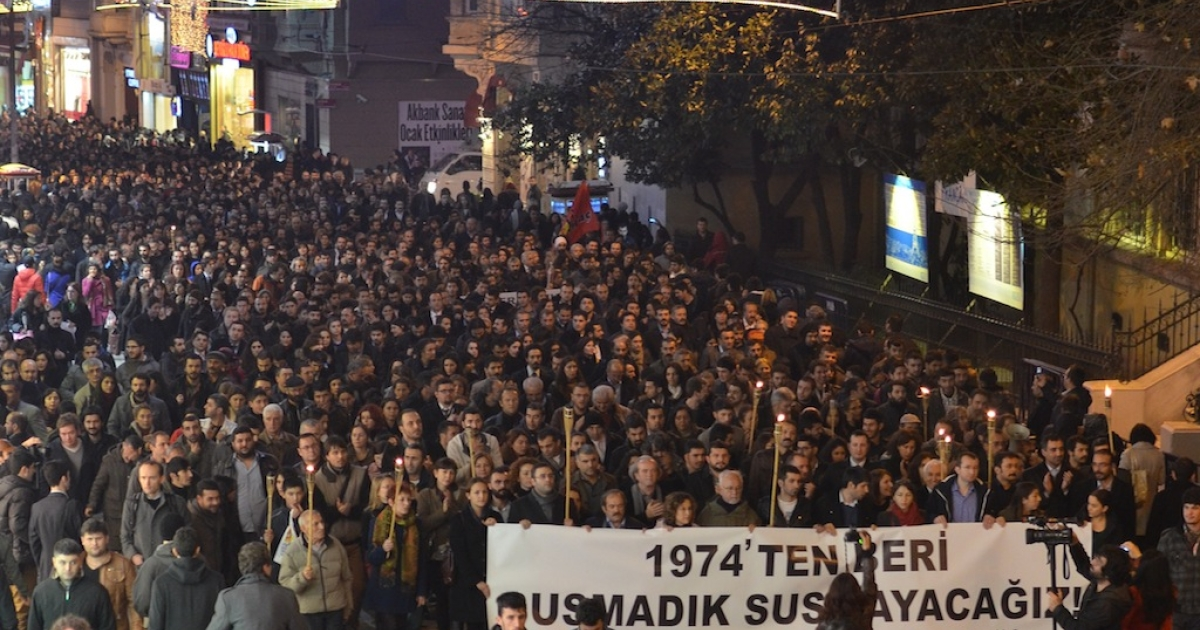 Four nights after the Jan. 18 anti-terror operation in which twelve of Turkey's leading human rights lawyers were arrested, thousands marched down Istanbul's main pedestrian avenue, Istiklal, in protest.</p>