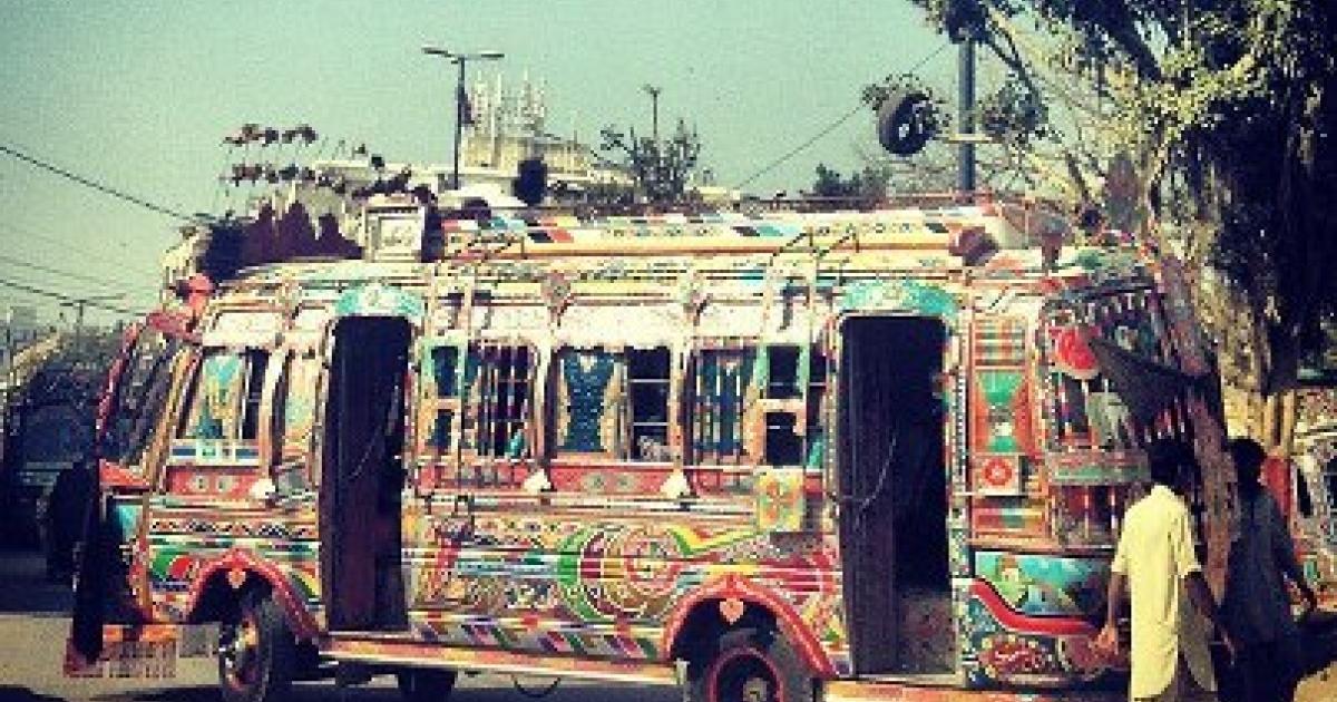 A common form of public transportation in Karachi.</p>