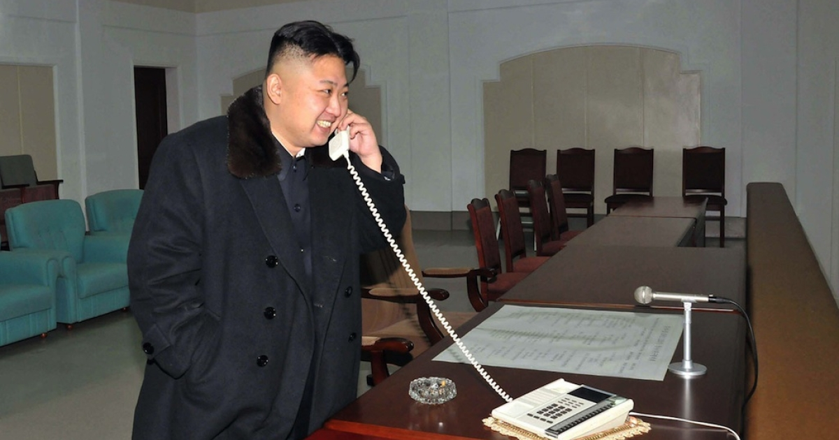 This picture taken by North Korea's official Korean Central News Agency (KCNA) on December 12, 2012 shows North Korean leader Kim Jong-Un celebrating the launch of the Unha-3 rocket, carrying the satellite Kwangmyongsong-3, at the general satellite control and command center in Pyongyang. Hundreds of thousands of North Korean soldiers and civilians rallied on December 14 in the centre of Pyongyang for a mass celebration of the country's long-range rocket launch, state television showed.</p>
