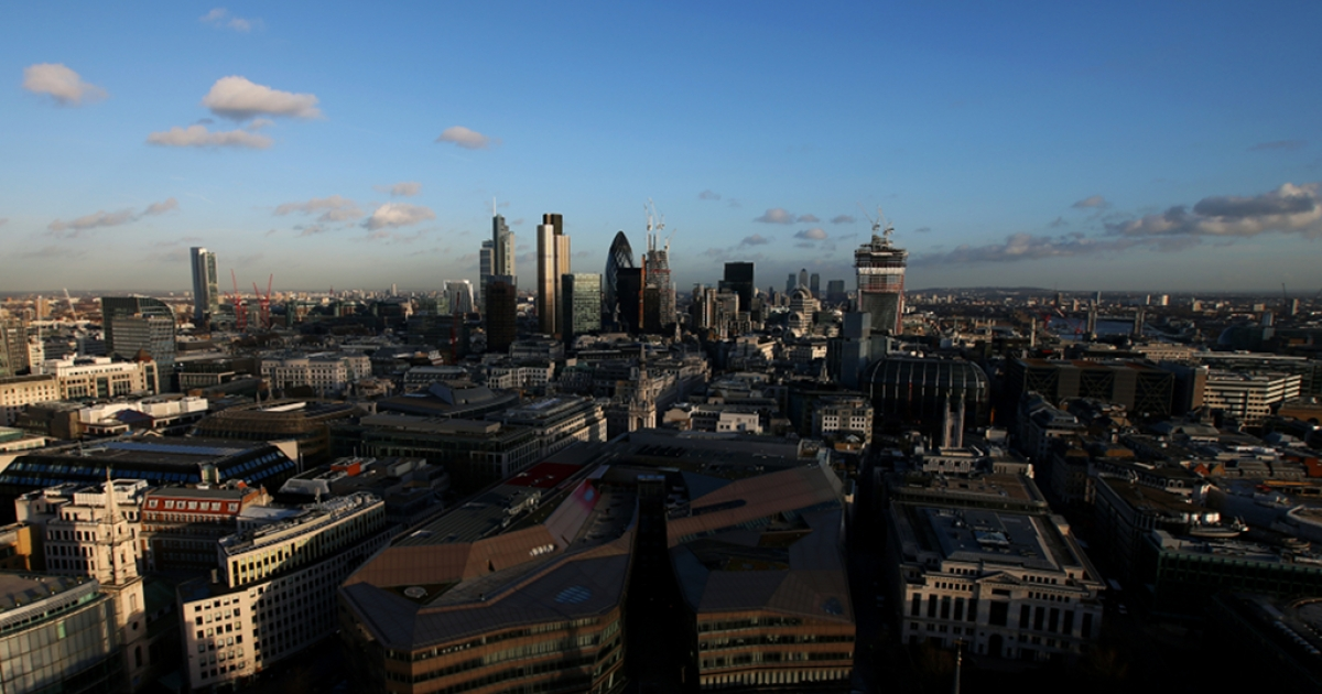A general view across London from the Golden Gallery at St Paul's Cathedral. The new HS2 rail line will connect London with cities in Northern England.</p>