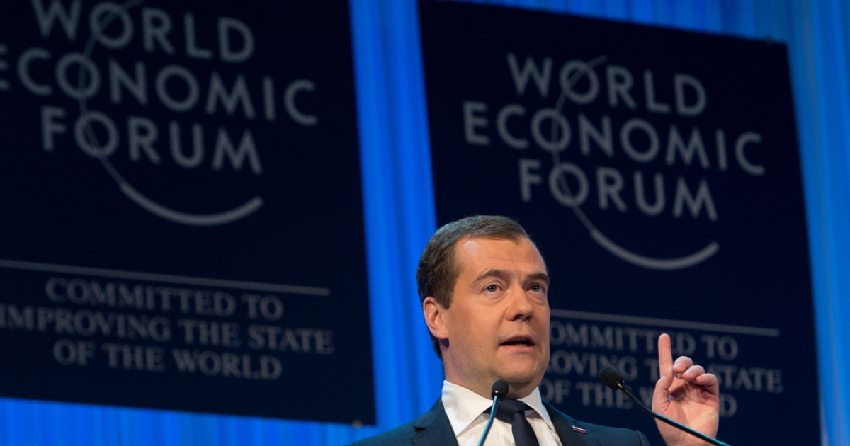 Russian Prime Minister Dmitry Medvedev addresses a session of the annual World Economic Forum (WEF) meeting in Davos, Switzerland, on Jan. 23, 2013.</p>