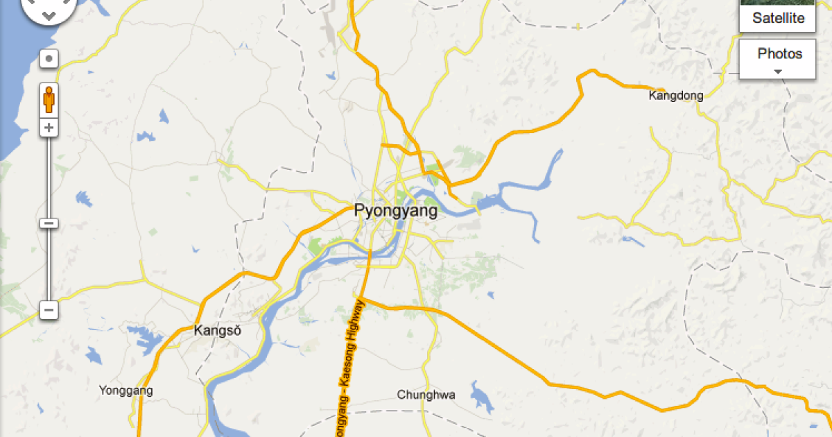 Google's new map of Pyongyang. The company has updated its data on the whole of North Korea to include dozens of roads, place names and landmarks.</p>