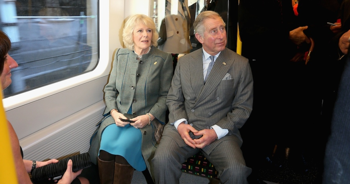 Prince Charles and his wife, Camilla, enjoying a rare journey on the London Underground.</p>