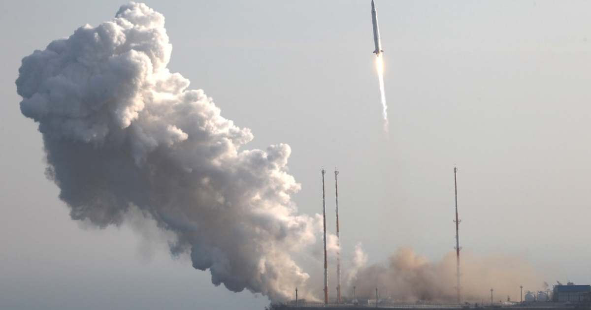The Korea Space Launch Vehicle-1 blasts off at Goheung Space Center on January 30, 2013 in Goheung-gun, South Korea.</p>