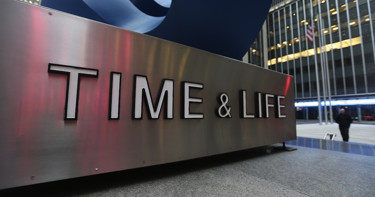 A sign stands in front of the Time &amp; Life building in Manhattan on January 30, 2013 in New York City.</p>