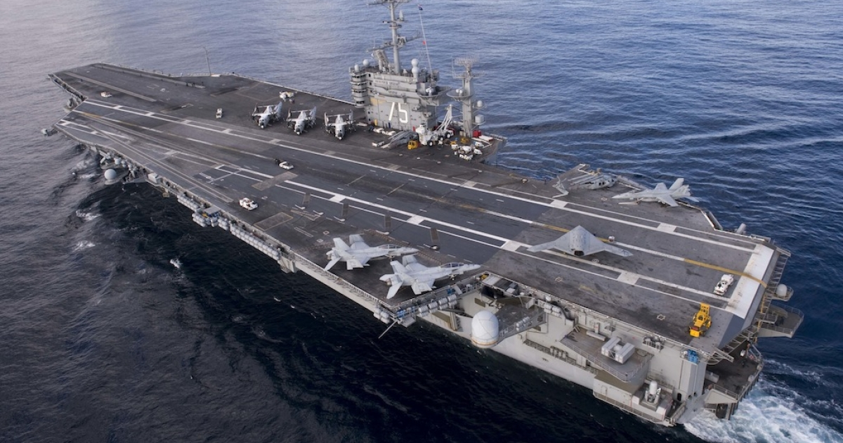 The USS Harry S. Truman aircraft carrier on Dec. 9, 2012 in the Atalntic Ocean.</p>