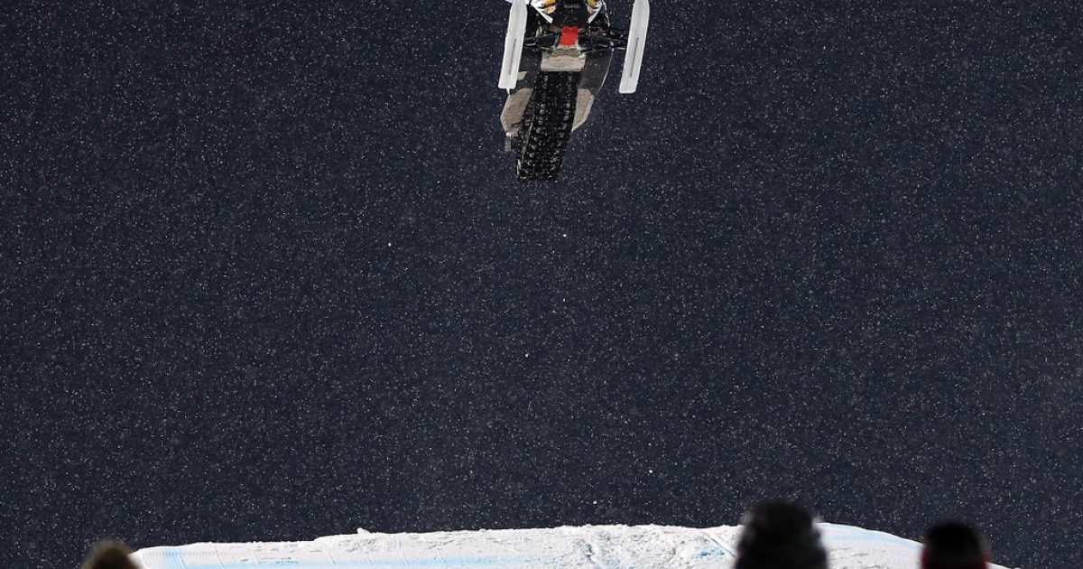 Levi LaVallee goes airborne en route to winning the gold medal in the Snowmobile Freestyle at Winter X Games Aspen 2013 at Buttermilk Mountain on January 24, 2013 in Aspen, Colorado.</p>