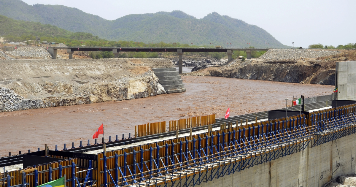A picture taken on May 28, 2013 shows the Blue Nile in Guba, Ethiopia, during its diversion ceremony. Ethiopia has begun diverting the Blue Nile as part of a giant dam project, officials said on May 29, 2013 risking potential unease from downstream nations Sudan and Egypt. The $4.2 billion (3.2 billion euro) Grand Renaissance Dam hydroelectric project had to divert a short section of the river -- one of two major tributaries to the main Nile -- to allow the main dam wall to be built.</p>