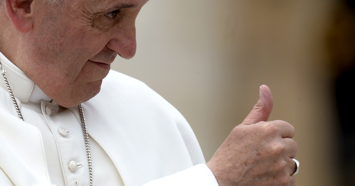 Pope Francis gestures on June 5, 2013 at the end of his weekly general audience on St Peter's square at the Vatican.</p>