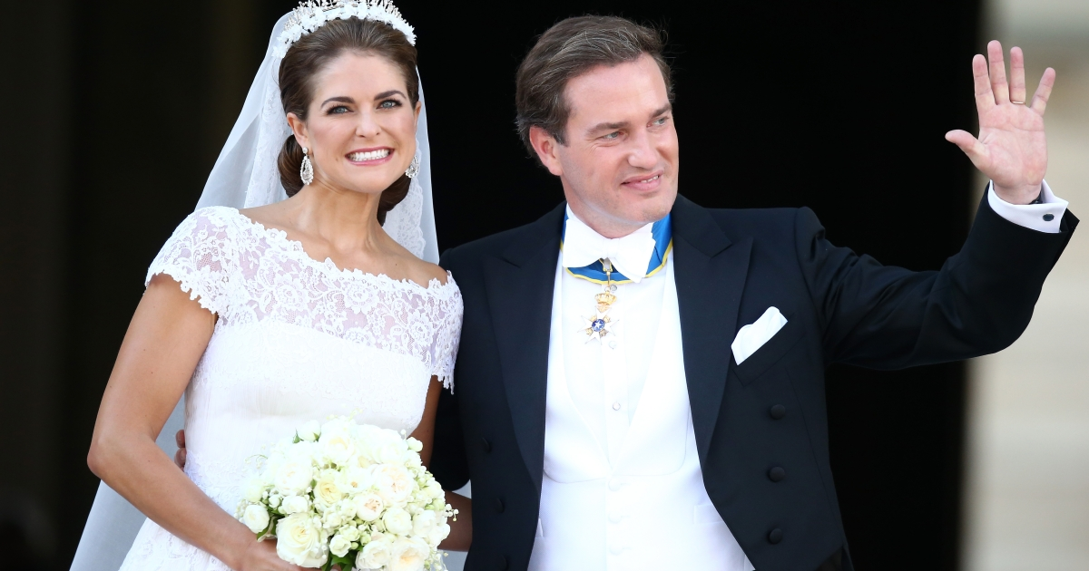 Princess Madeleine of Sweden and Christopher O'Neill at their wedding ceremony hosted by King Carl Gustaf XIV and Queen Silvia at The Royal Palace on June 8, 2013 in Stockholm, Sweden.</p>