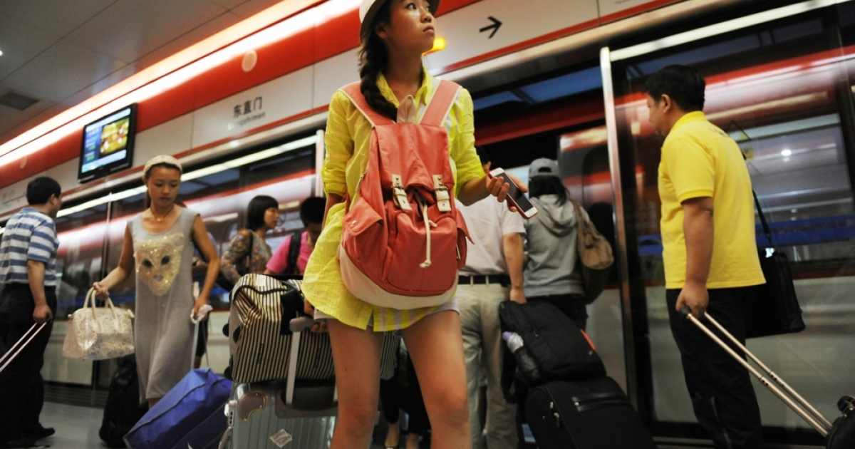 Beijing police say female travellers dressed like this are putting themselves at risk.</p>