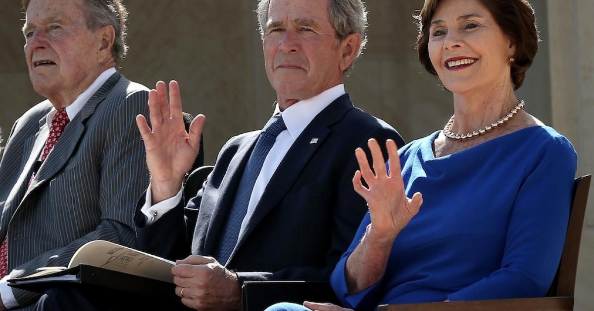 Former U.S. President George H.W. Bush, former President George W. Bush and his wife, former first lady Laura Bush, at the George W. Bush Presidential Center on April 25, 2013 in Dallas, Texas.</p>